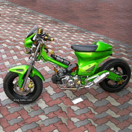 modifikasi motor minti c70 hijau