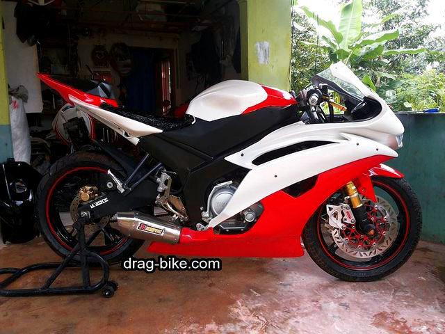 modifikasi motor vixion 2010 merah putih full fairing R6