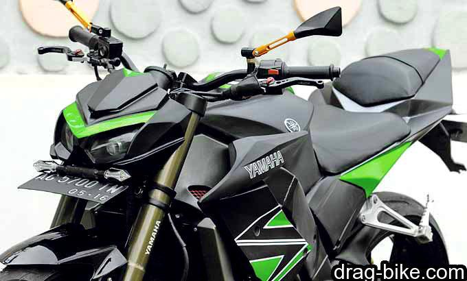 modifikasi vixion street fighter monster terbaik pakai lampu replika kawasaki Z1000