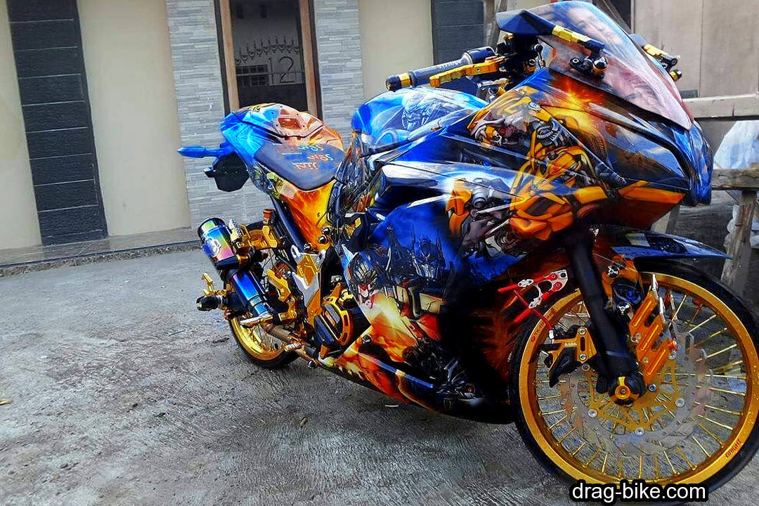 Modifikasi Ninja 250 cc 4 Tak Full Airbrush Kontes