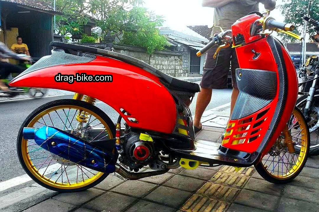 Modifikasi Scoopy Merah Minimalis